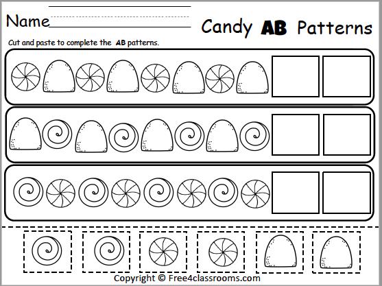 Free Candy Ab Patterns Math Worksheet