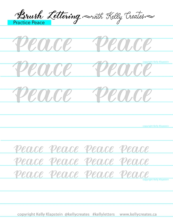 Free Christmas Peace Calligraphy Worksheet  Kelly Creates