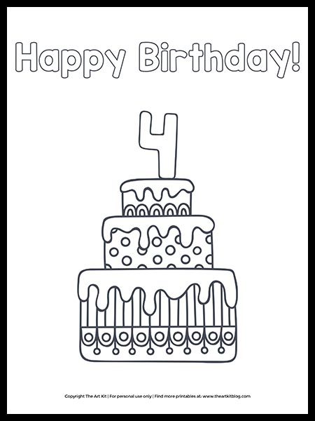 Free Happy Th Birthday Cake Coloring Page