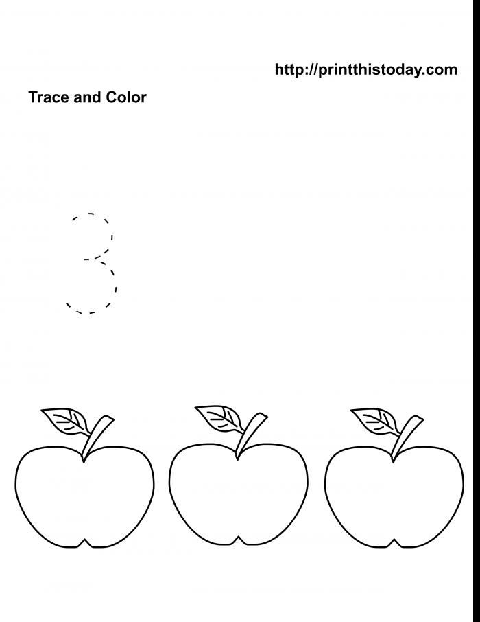 Free Kindergarten Math Worksheets Number Three