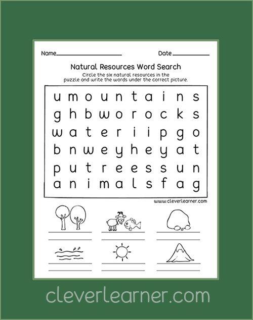 Free Kindergarten Printables On Natural Resources Kindergarten