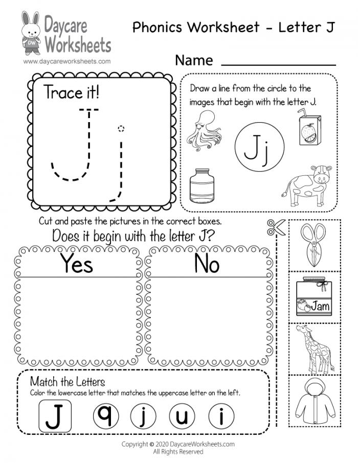 Free Letter J Phonics Worksheet For Preschool