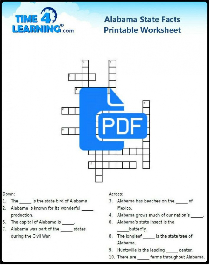 Free Printable Alabama State Facts Crossword