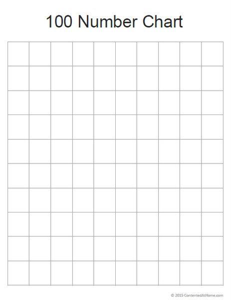 Free Printable Blank  Number Chart