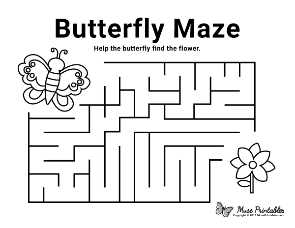 Free Printable Butterfly Maze Download It At Https