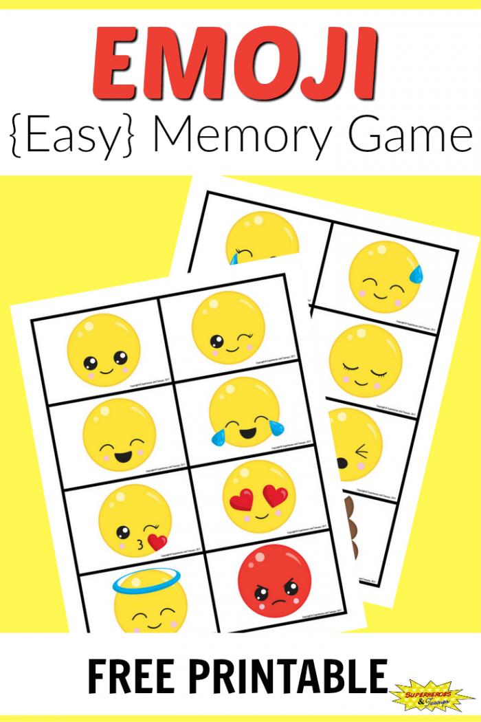 Free Printable Emoji Memory Game For Kids