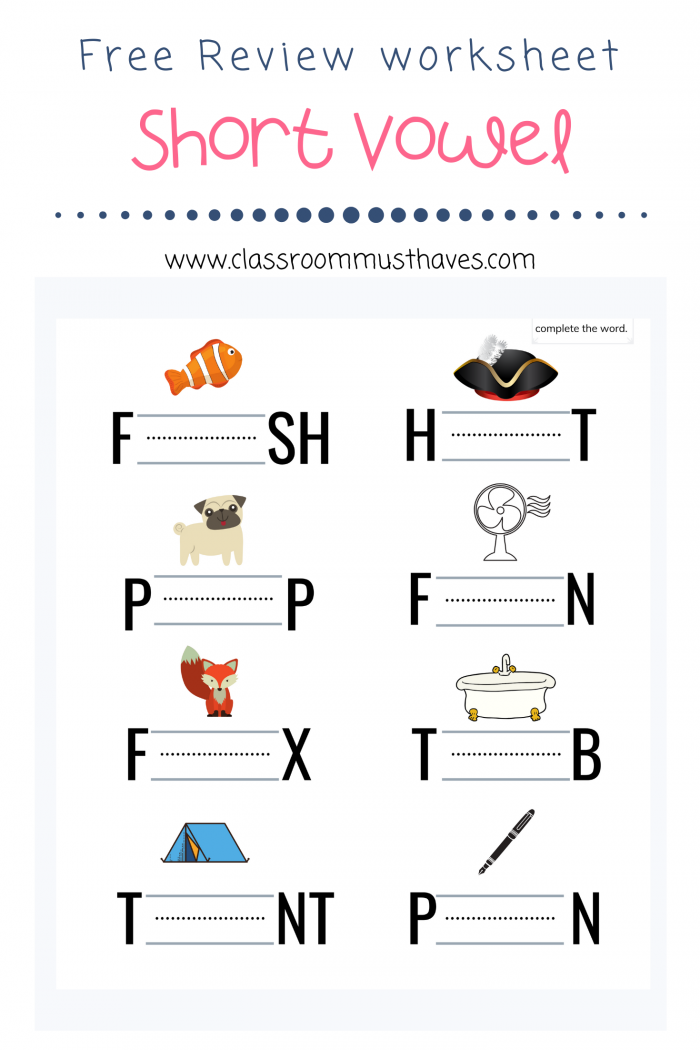 Free Short Vowel Review Worksheets