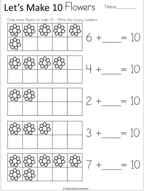Free Spring Kindergarten Math Addition Worksheets