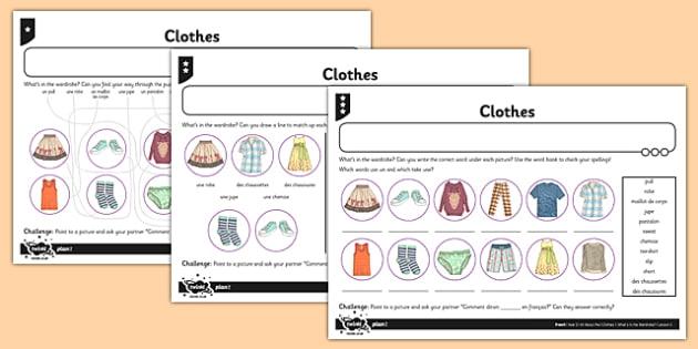 French Clothes  Worksheet  Worksheet Teacher Made