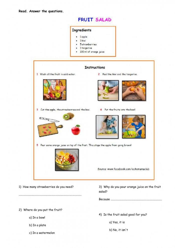 Fruit Salad Reading Worksheet
