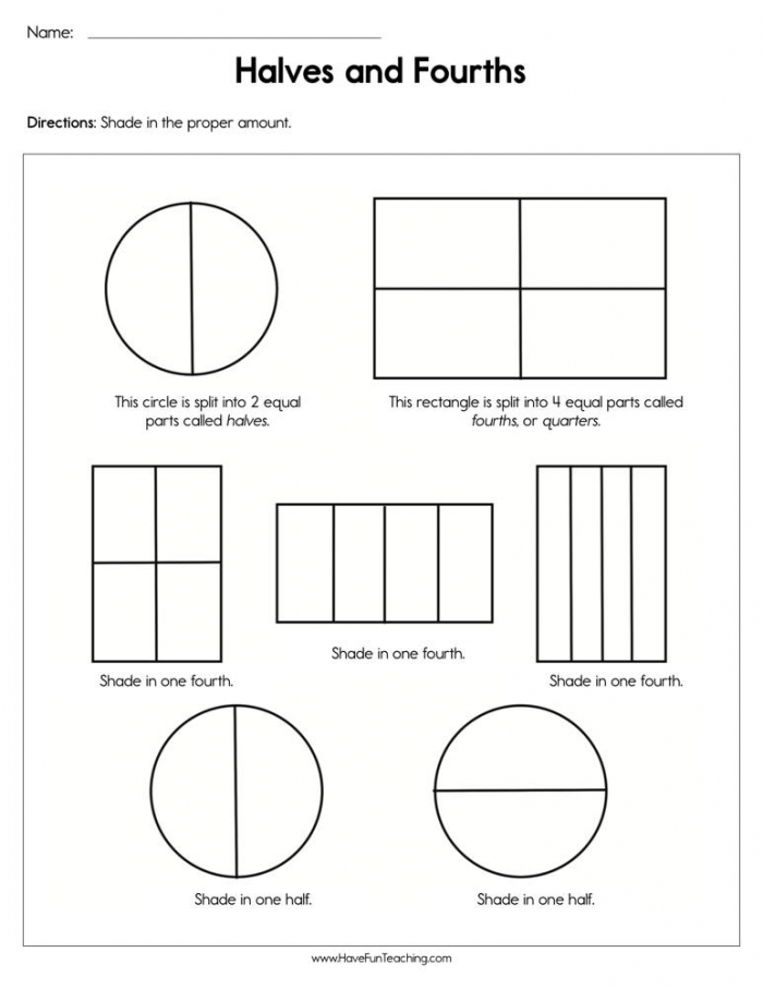 Halves And Fourths Worksheet  Have Fun Teaching