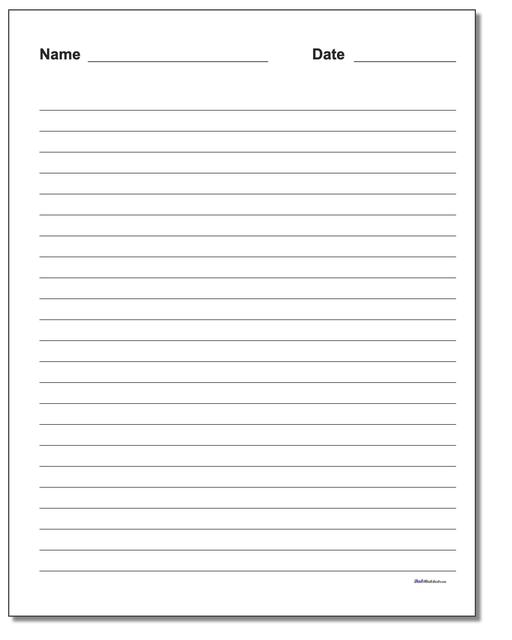 Handwriting Paper Printable Blank Worksheet Lined Quarter Inch