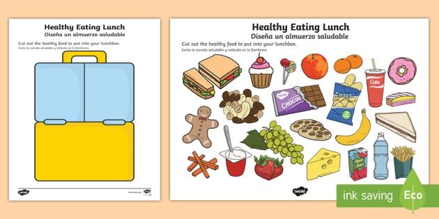 Healthy Eating Lunch Worksheet  Worksheet Englishspanish