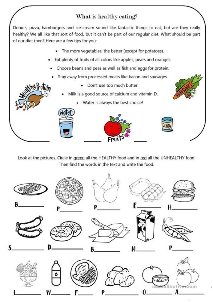 Healthy Eating Worksheets For Adults Kindergarten Free Printable