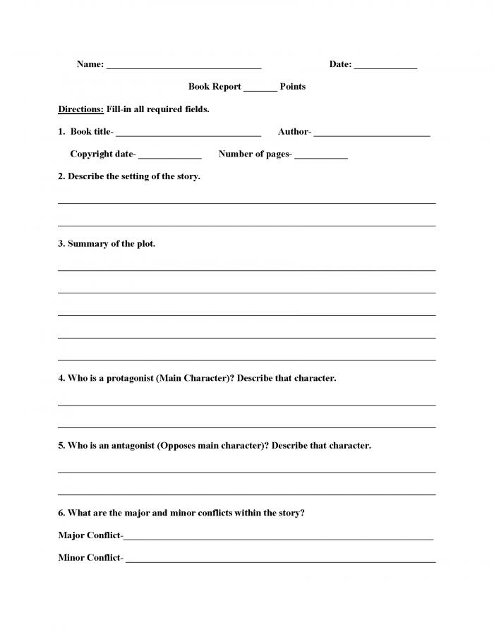 High School Book Report Worksheets