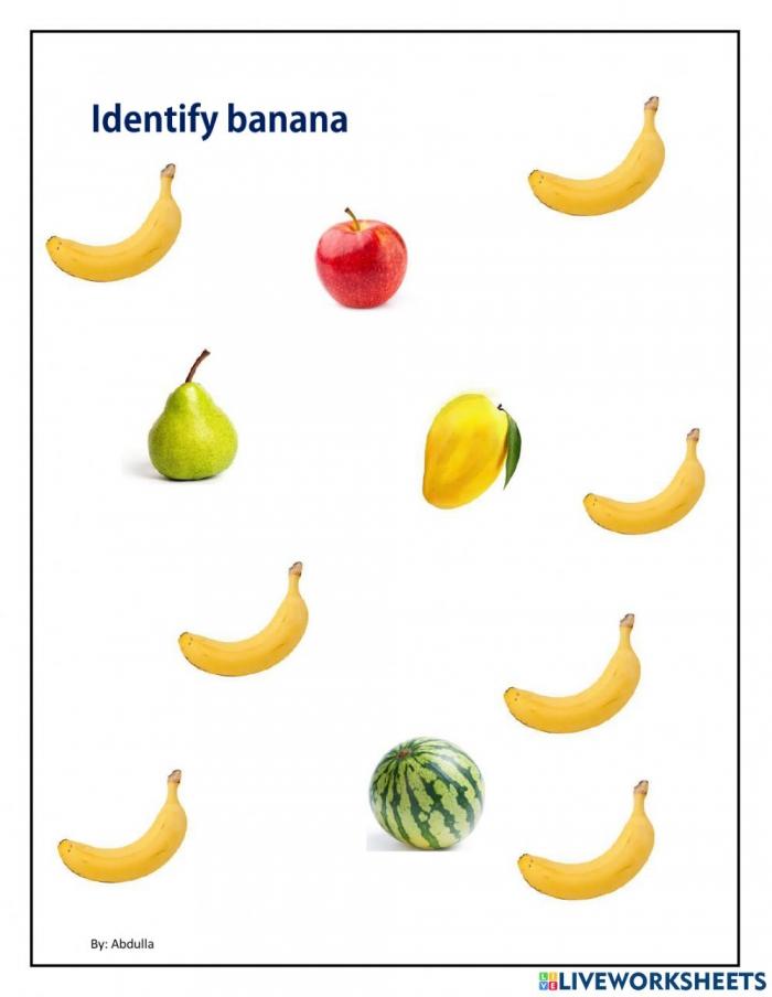 Identify Banana Worksheet