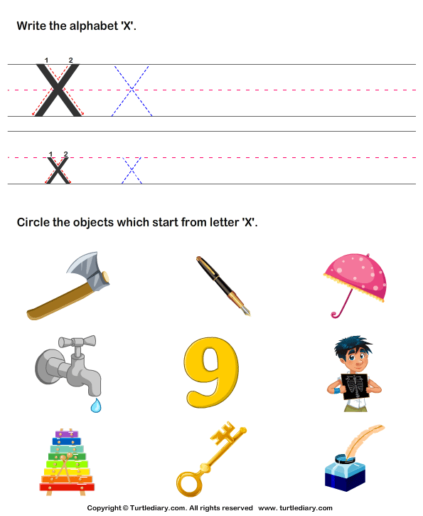 Identify Words That Start With X Worksheet