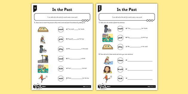 In The Past Differentiated Past Tense Worksheet