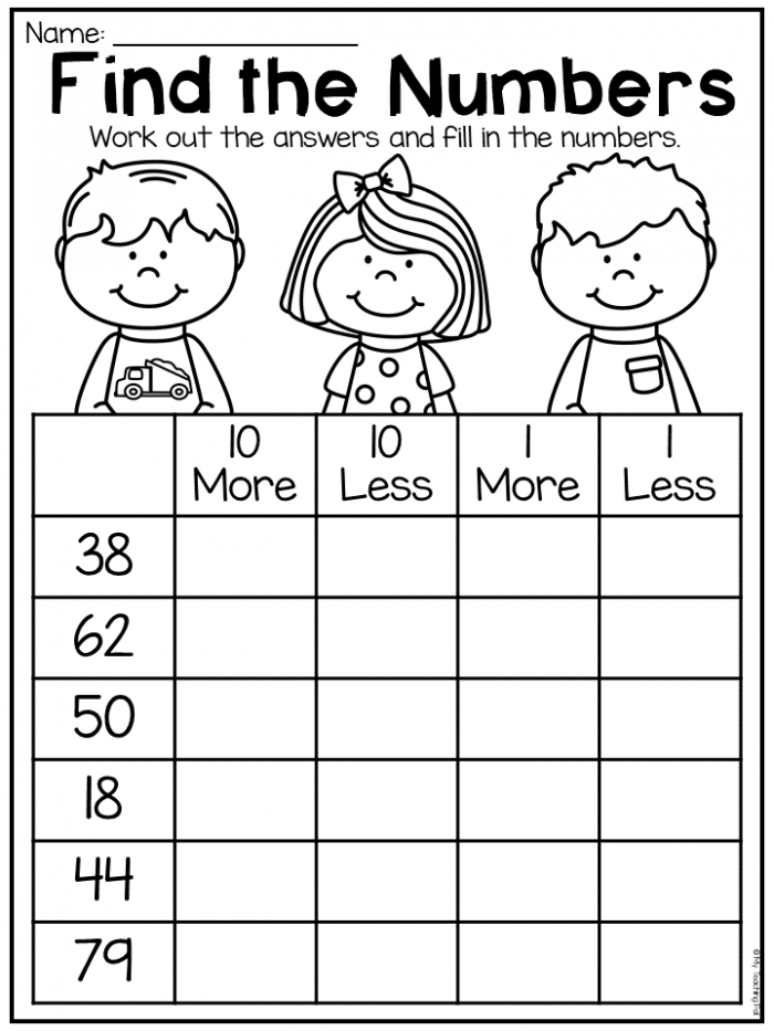Incredible Ten More Less Worksheets Picture Ideas Printable Rd