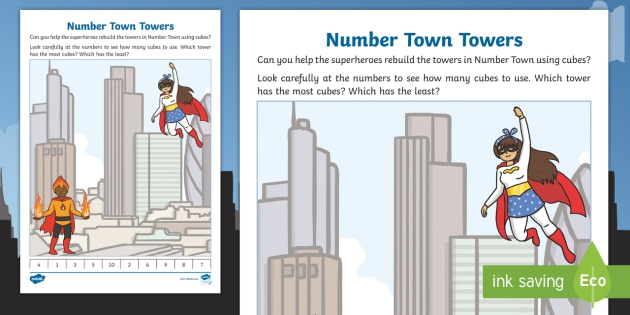 Interlocking Cubes Number Town Towers Worksheets