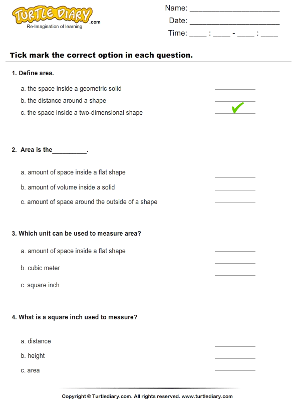 Introduction To Area Choose Correct Option Worksheet