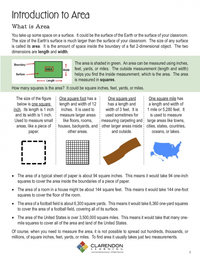 Introduction To Area Lesson Plan