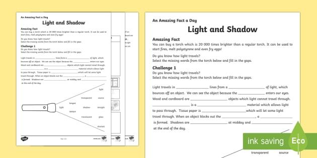 Ks Light And Shadows Worksheet Teacher Made
