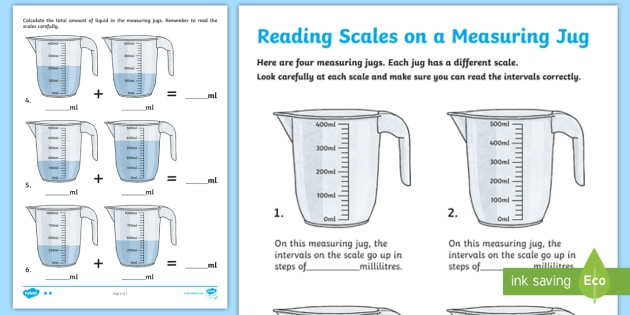 Ks Maths Reading Scales On A Measuring Jug Differentiated Worksheets