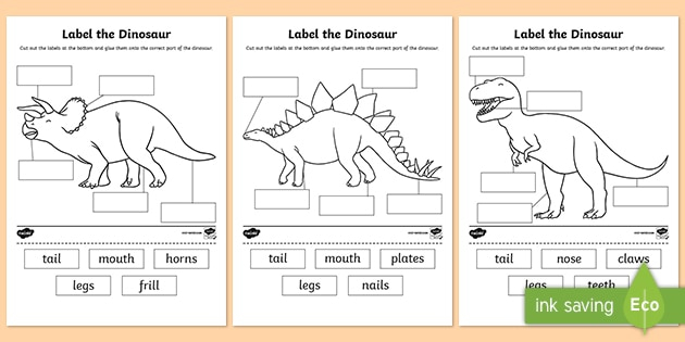 Label The Dinosaur Worksheet