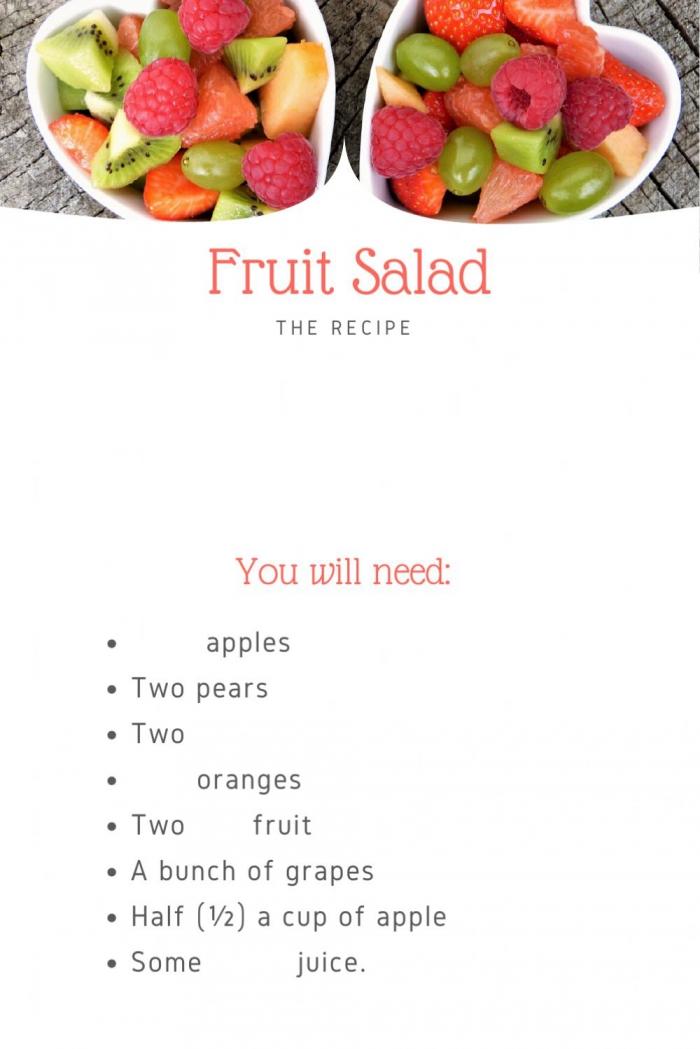 Lets Make Fruit Salad Interactive Worksheet