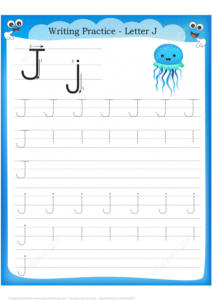 Letter J Is For Jellyfish Handwriting Practice Worksheet