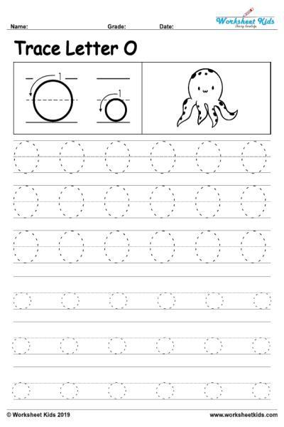 Letter O Alphabet Tracing Worksheets
