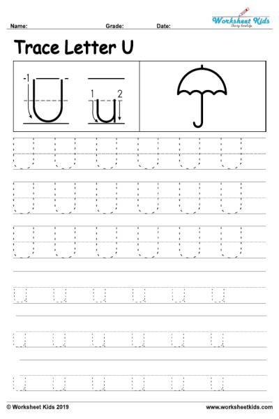 Letter U Alphabet Tracing Worksheets