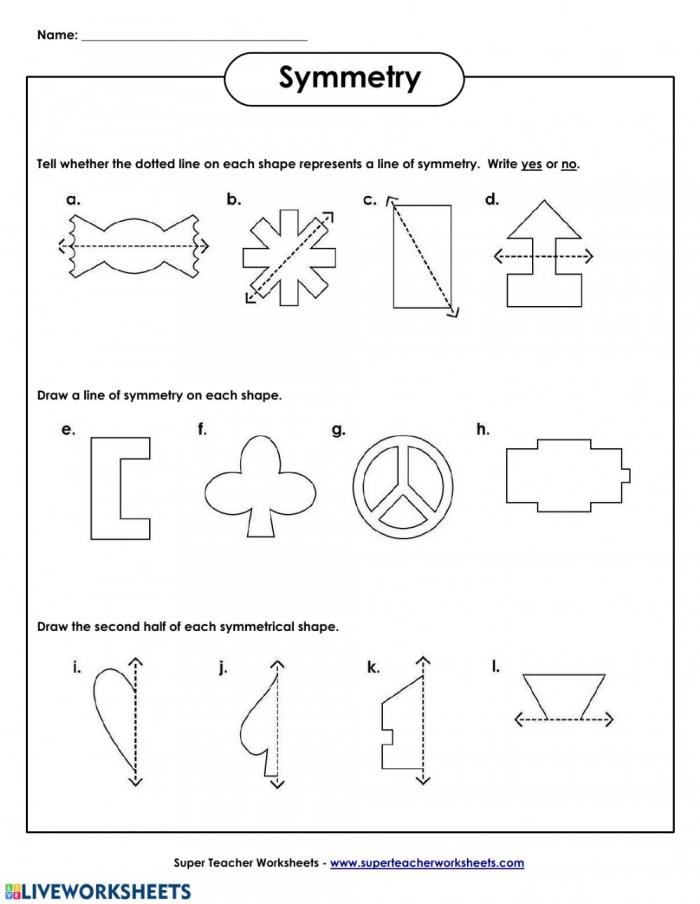 Line Of Symmetry Worksheet