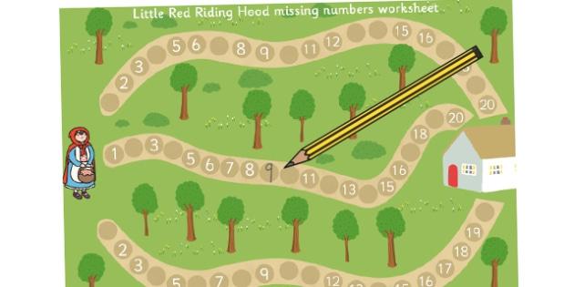 Little Red Riding Hood Missing Numbers Worksheet  Worksheet