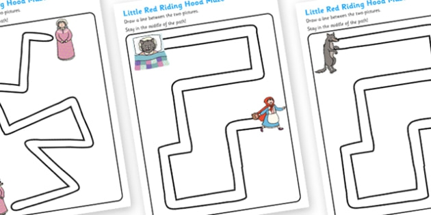 Little Red Riding Hood Pencil Control Path Worksheets
