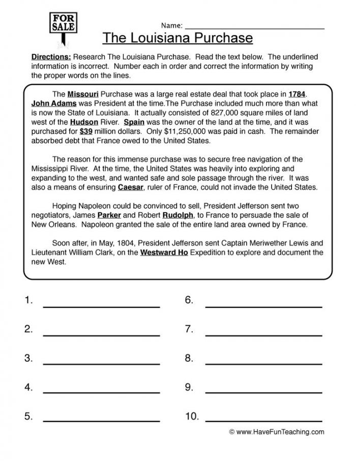 Louisiana Purchase Worksheet  Have Fun Teaching