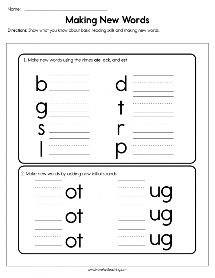 Making New Words Worksheet  Have Fun Teaching