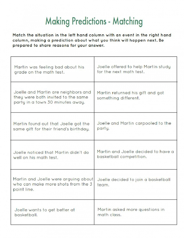 Making Predictions Activity For Elementary