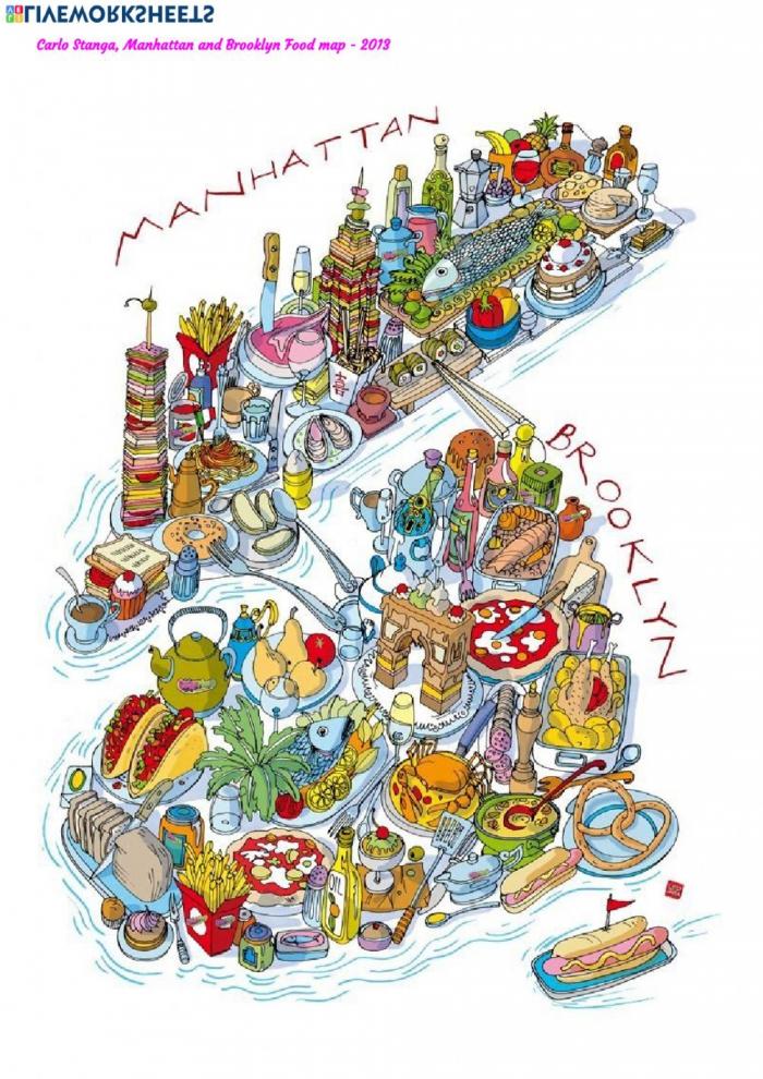 Manhattan And Brooklyn Food Map Worksheet