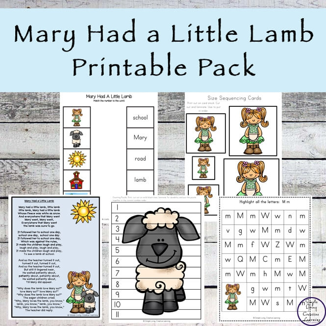 Mary Had A Little Lamb Printable Pack