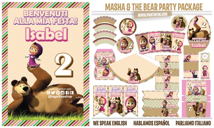 Masha And The Bear  Party Printables Package