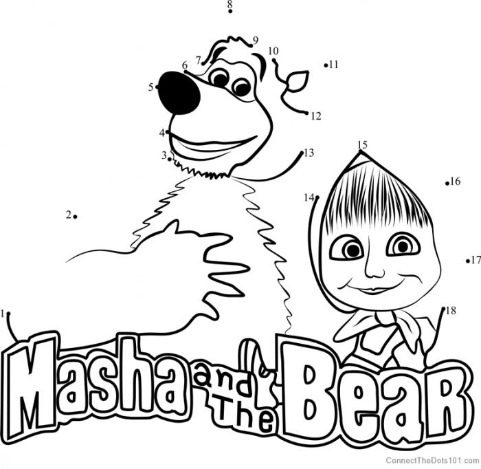 Masha And The Bear Dot To Dot Printable Worksheet