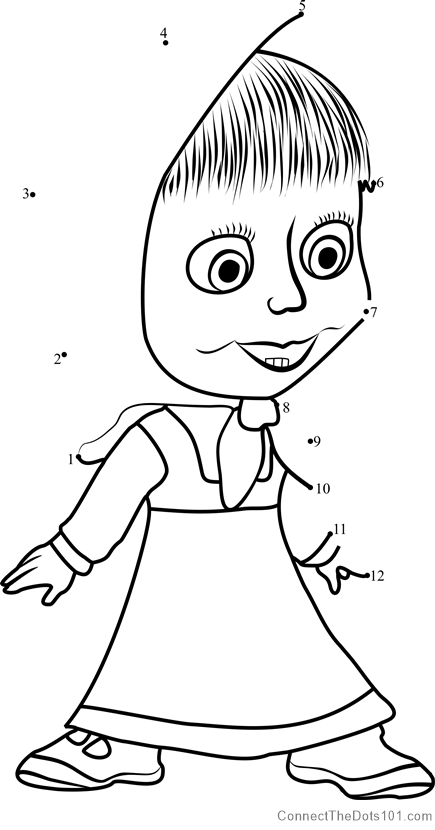 Masha Excited Dot To Dot Printable Worksheet