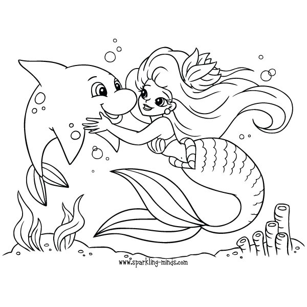 Mermaid Coloring Pages For Kids
