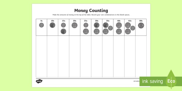 Money Counting And Sorting Worksheet  Worksheets