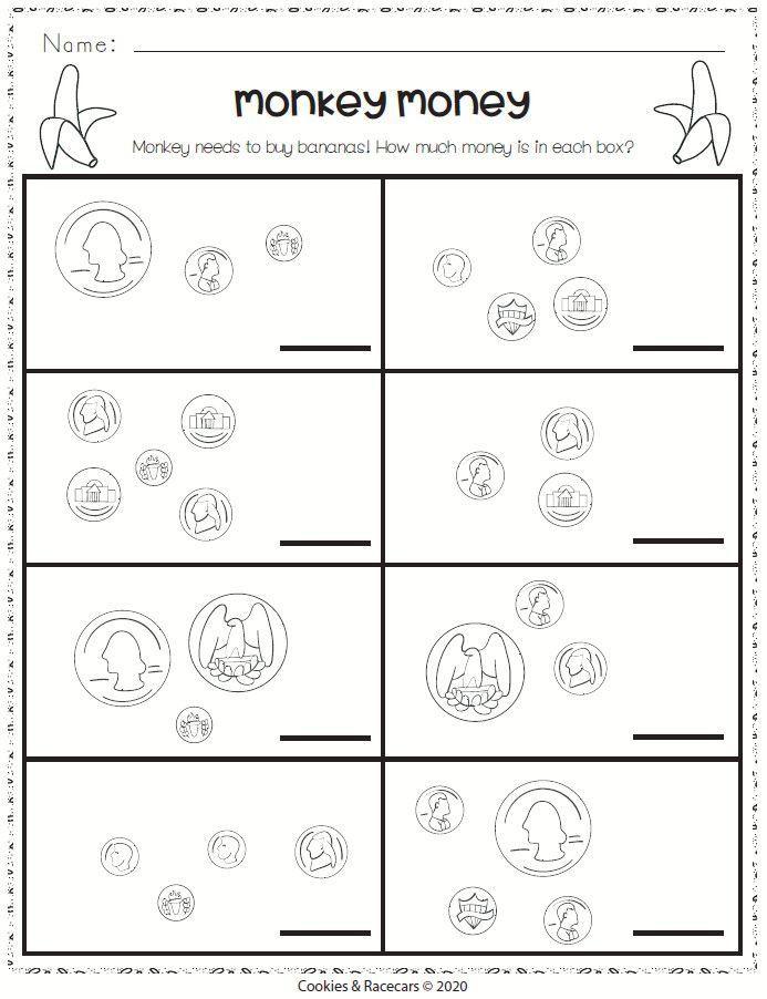Monkey Math Kindergartenst Grade Worksheets