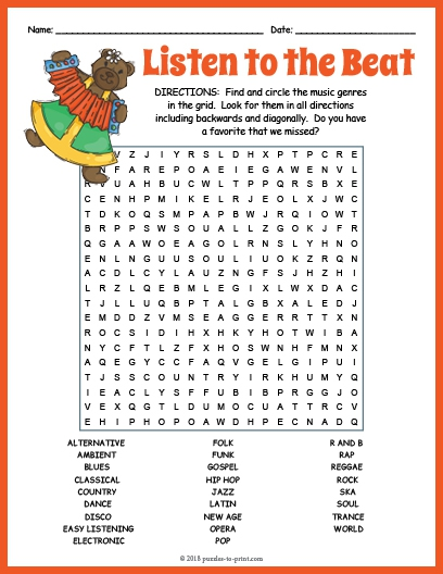Music Genres Word Search