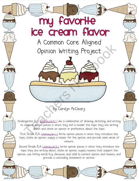 My Favorite Ice Cream Flavor Common Core Aligned Opinion Writing