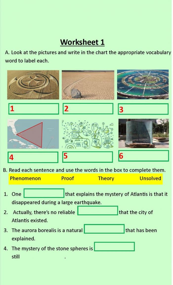 Mysteries Vocabulary Worksheet